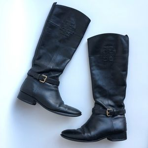 TORY BURCH Eloise Leather Black Riding Boots